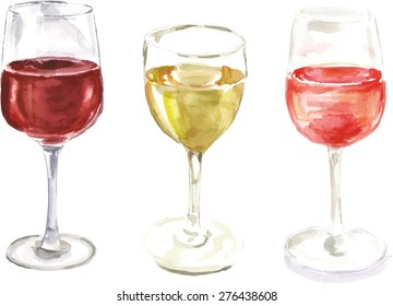 A set of watercolour wine glasses, scalable vector graphic