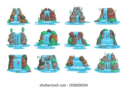 Set of waterfall. River waterfall falls from cliff white background. Water fall streams. Picturesque tourist attraction with small waterfall and clear water. Cartoon landscapes with mountains and tree