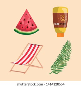 set of watermelon fruit with suncream and tanning chair with leaf