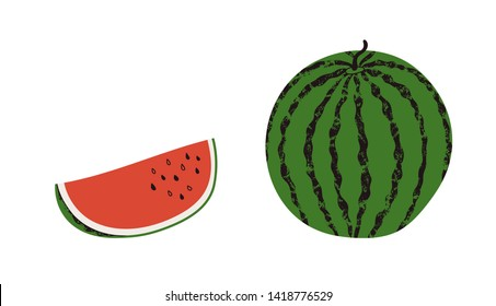 Set of watermelon slices cut and whole  isolated on white background. Tropical red fruits, fresh and juicy. Cartoon healthy food illustration with texture. Hello summer concept.