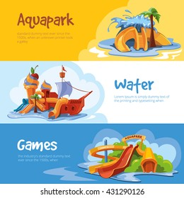 Set of Waterslide in an aquapark. Vector illustrations. Cartoon concept design for web, site, advertising, banner, poster, board and print. Pictures with place for your text