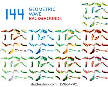 Set of wave abstract backgrounds. Modern templates for cover design for brochures, web banners, flyers. Vector art