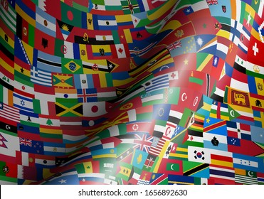 set of wave flags of all countries in illustration