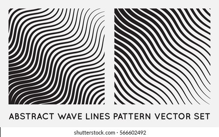 Set of Wave Oblique Smooth Lines Pattern in Vector