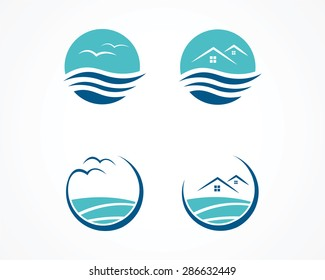 set of wave wave,apartment icon