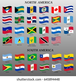 set of waving flags of Americas vector illustration