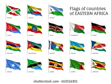 Set of waving flags of Eastern African states: Djibouti, Comoros, Burundi and Eritrea, Ethiopia, Kenya, Malawi and Mauritius. 18 ensigns on flagpole of East Africa countries. Vector isolated icons