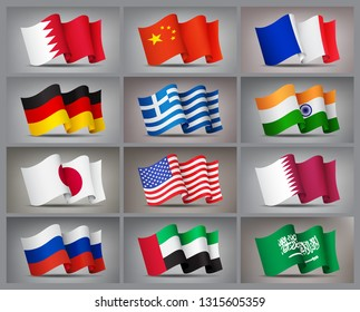 Set of waving flags icons isolated, official symbols of countrys. Qatar, Bahrain, China, Russia, Greece, United Arab Emirates, Germany, India, Japan, France USA and Saudi Arabia flags Vector