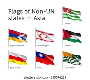 Set of waving flags of non-un states: Abkhazia, Kashmir and Northern Cyprus, Nagorno-Karabakh, Palestine and Taiwan. Collection with 7 signs. Vector isolated icons