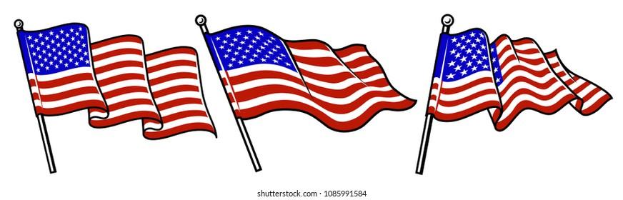 Set of waving USA flags. Vector illustration.