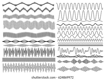 Set of wavy curved and horizontal lines. Vector illustration. Isolated on white background. Freehand drawing.