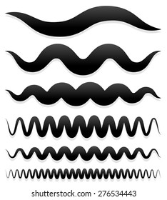 Set of wavy and curved lines, brush strokes. Vector.