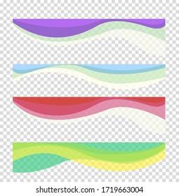 Set wavy design element. Decor for brochure, banner, flyer. Fluid, color wave, curve smooth line. Vector