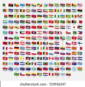Set of wavy flags. Vector illustration. Vector flag pack