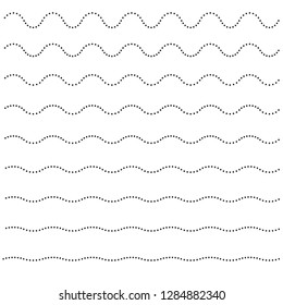 Set of wavy horizontal dots lines. Vector design element