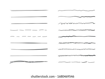 Set of wavy horizontal lines. Marker hand-drawn line border set and scribble design elements. Set of art brushes for pen. Hand drawn grunge brush strokes. Vector illustration, EPS 10.