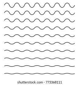 Set of wavy horizontal lines. Vector design element