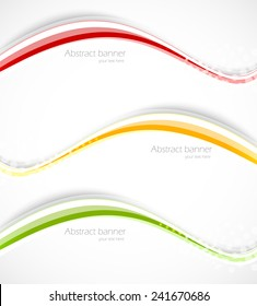 Set of wavy lines abstract banners in green orange red color
