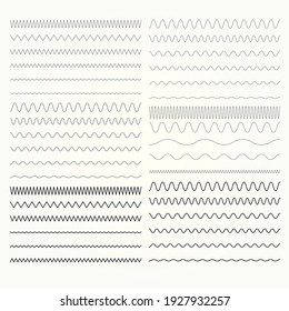 Set of wavy lines, zigzag and squiggly borders collection, vector waves