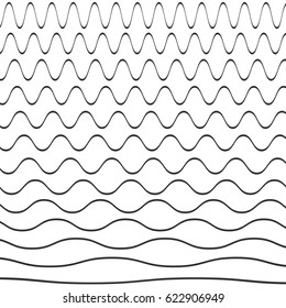 Set of wavy pattern. Vector illustration.