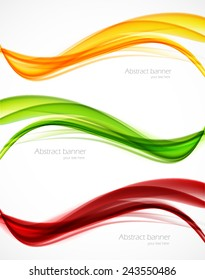 Set of wavy soft  banners. Abstract template design