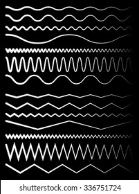 Set of wavy and zigzag lines on black
