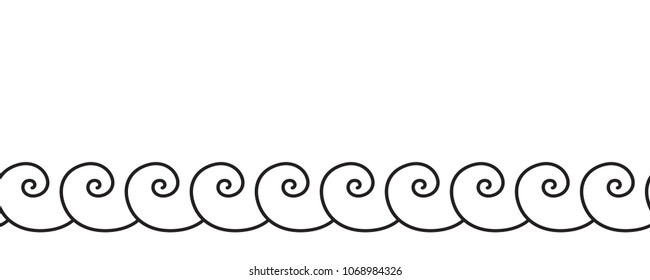 Set of wavy, zigzag, sinuous horizontal lines. Sea wave seamless pattern