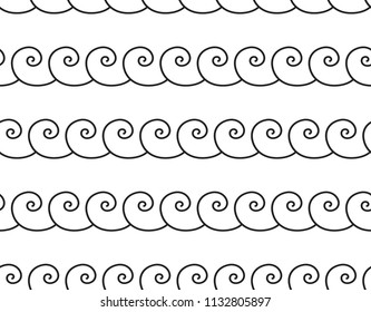 Set of wavy, zigzag, sinuous horizontal lines. Black and white textures. Sea wave seamless pattern