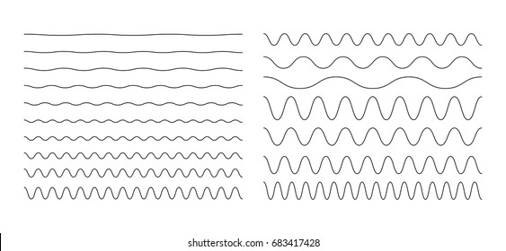 Set of wavy, zigzag, sinuous horizontal lines