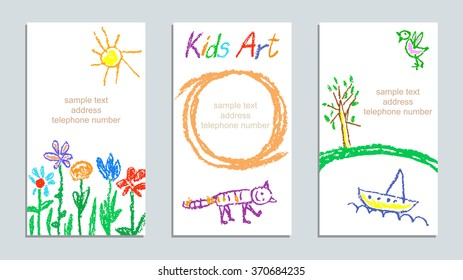 Set of wax crayon kid`s drawn colorful cards with hand drawing flowers, cat, sun, tree, ship on white. Hand drawn art background. Child`s painting pastel chalk lines and design elements, vector.