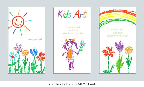 Set of wax crayon like kid`s drawn colorful cards with hand drawing flowers, rainbow, sun, girl on white. Hand drawn art background. Like child`s painting pastel chalk and design elements, vector.