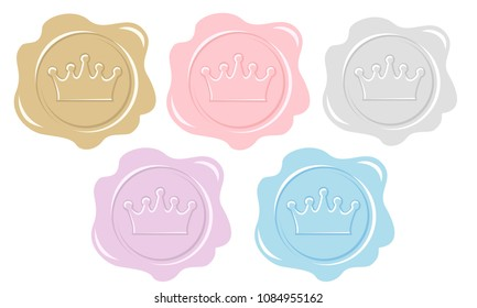 Set of wax seal icons. Element of design for royal party invitation card. Princess or prince letter. Silhouette of crown. Vintage pink, gold, silver, purple and blue stickers for decoration. Cute logo