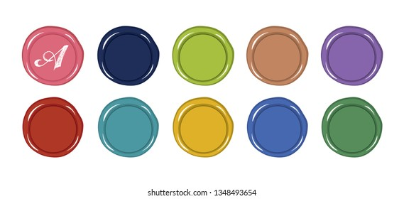 Set of wax seal icons vector. Illustration.