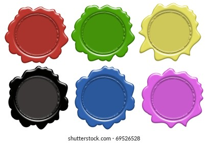 Set of wax seals (gradient only) 6 colors, vector illustration