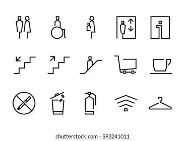 set of wayfinding system signage in simple line design