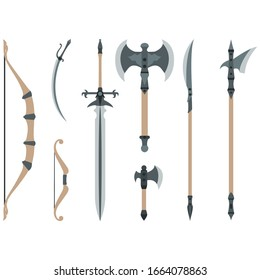 Set of weapon icons. Their sword, bow, ax, spear, saber.