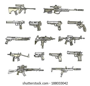 Set of weapons in vector isolated on a white background.