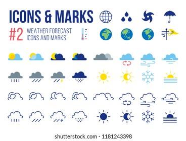 Set of Weather Forecast icons and masks in Modern Symbols Vector illustration
