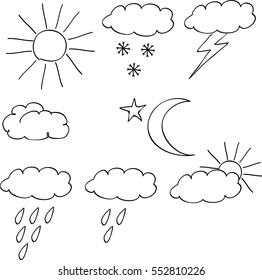 Set of weather icon, hand-drawn with black lines