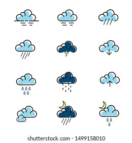 set of weather icon vector. cloud icon set