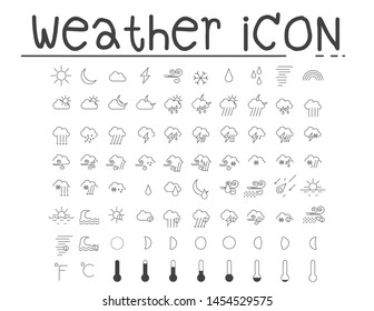 Set of weather icons. Additional part. Vector illustration.