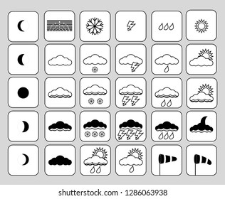 Set of weather icons. Black and white image weather icons. Cloudiness, thunderstorm, precipitation, wind.