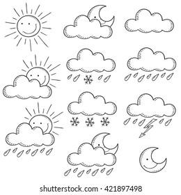 Set weather icons. Doodle vector illustration  contour