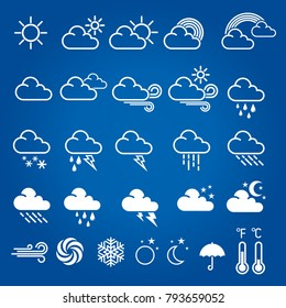 Set of weather icons. Modern weather icons, symbols on blue background. Vector illustration