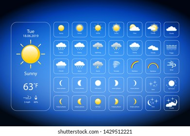 set Weather Icons For Print, Web or Mobile App vector eps 10 art