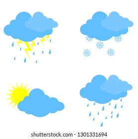 A set of weather notation. Weather forecast