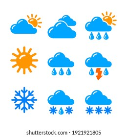 set of weather report forecast black and white icons