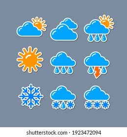 set of weather report forecast icons and stickers