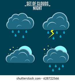 Set. Weather. A simple vector illustration in a flat style. Night sky. Thunderstorm with rain and three-dimensional clouds. Blue moon and stars. EPS 8