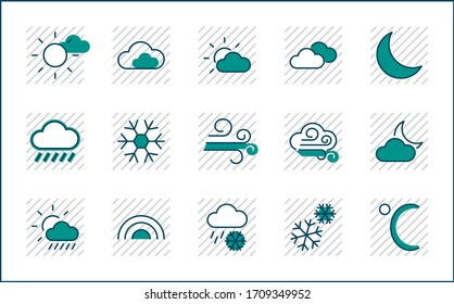 Set of Weather vector line icons. Contains symbols of the sun, clouds, snowflakes, wind, rainbow, moon and much more. Editable Stroke. 32x32 pixels.